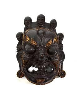 Bhairab, drevená maska, antik patina, ručné práce, 35cm