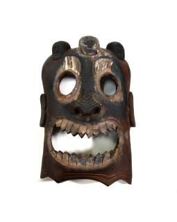Drevená maska, Bhairab (Tribal art), ručne vyrezaná, 32cm
