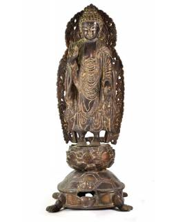 Budha Maitréja stojaci na korytnačke, mosadzná socha, 45cm