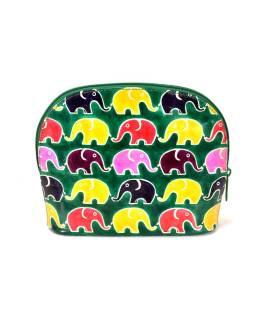 Ručne maľovaný veľký kožený neceséry, zelená, slony