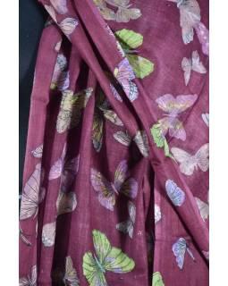 Šatka s motívom motýľov a strapcami, vínový, 180x75cm