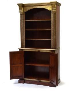 Knižnica z palisandrového dreva zdobená mosadzným kovaním, 100x45x200cm