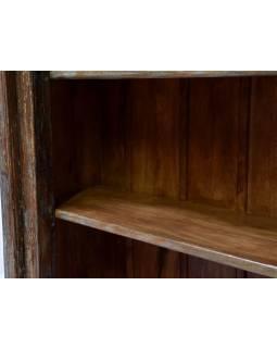 Knižnica z antik teakového dreva, zdobená rezbami, 99x45x205cm