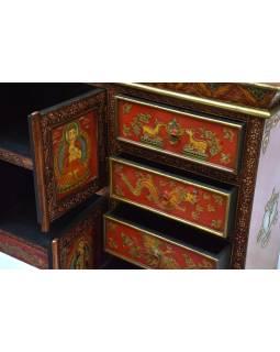 Komoda so zásuvkami v tibetskom štýle z mangového dreva, 122x26x92cm