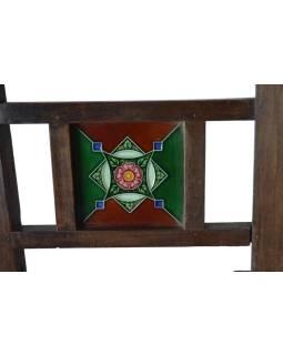 Lavice z antik teakového dreva vykladaná dlaždičkami, 183x83x98cm