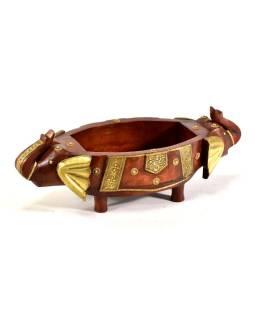 Drevená misa, slonie hlavy, mosadzné kovania, 49x18x13cm