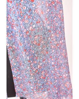Veľký šatka so strapcami, kvetovaný motív, modrá, 180x220cm
