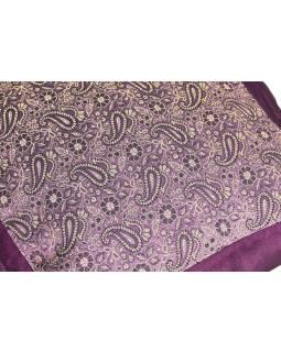 Fialový saténový povlak na vankúš s výšivkou paisley, zips, 40x40cm