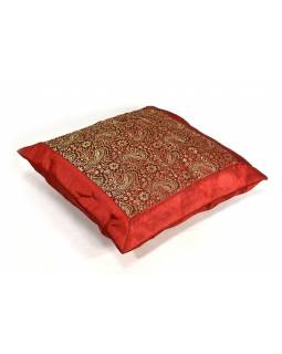 Povlak na vankúš s výšivkou paisley, saténový, červený, zips, 40x40cm