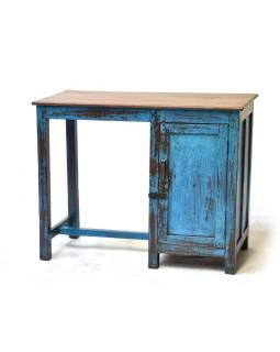 Starý písací stôl z teakového dreva, tyrkysová patina, 96x45x76cm