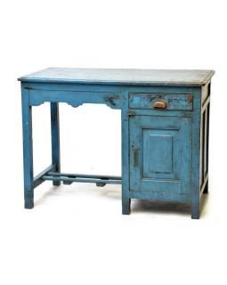 Starý písací stôl z teakového dreva, tyrkysová patina, 107x60x79cm