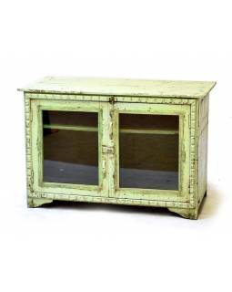 Presklená skrinka z antik teakového dreva, zelenkavá patina, 98x46x66cm