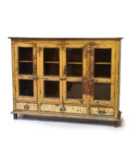 Presklená skriňa z antik teakového dreva, plechové boky, okrová patina163x44x127c