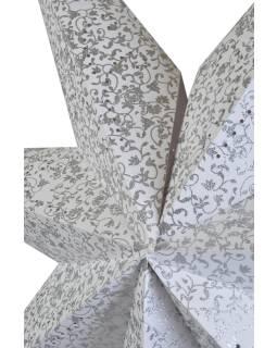 Biely papierový lampión hviezda, postriebrená, 7cípů, 140cm