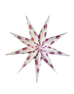 Biely papierový lampión hviezda, motív Gift, postriebrená, 9cípů, 60cm