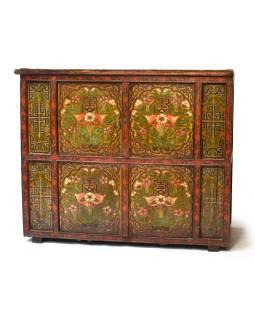 Ručne maľovaná drevená antik komoda z Tibetu, 173x70x141cm