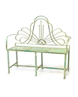 Kovová lavička, zelená patina, 118x41x110cm