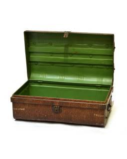 Plechový kufor, antik, hnedý, 69x43x27cm