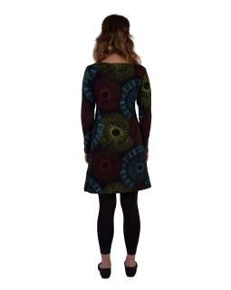 Čierne šaty s dlhým rukávom, mandalový potlač, V výstrih