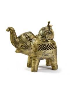 """Slon """"tribal art"""", mosadzná soška, otváracia, 13cm"""
