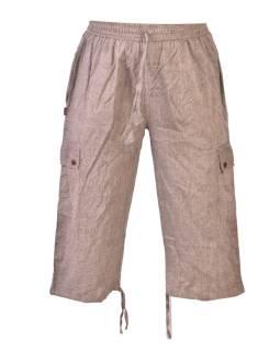 1e3a85c177e7 Hnedé trojštvrťové unisex nohavice s vreckami