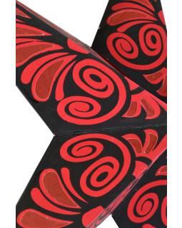 """Čierno červený papierový lampión hviezda """"Celtic Flower"""", 5 cípov, 60cm"""