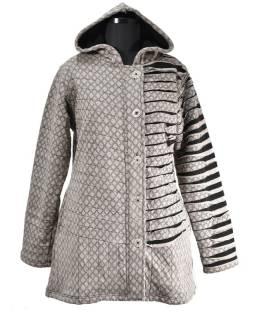 Šedá bunda s kapucňou, prestrihy, gombíky, vrecká