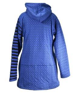 Modrá bunda s kapucňou, prestrihy, gombíky, vrecká