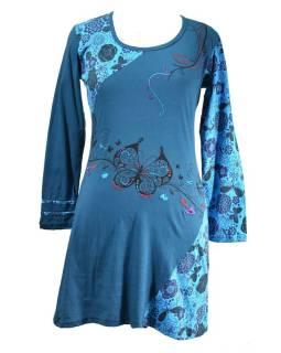 Krátke petrolejovej šaty s dlhým rukávom, Butterfly dizajn, výšivka