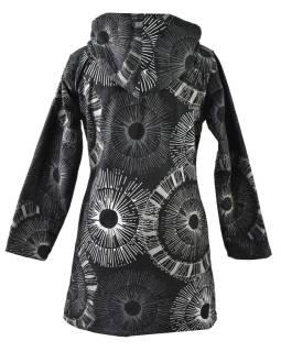 Čierno-sivý kabát s kapucňou zapínaný na zips, farebný mandala potlač, k