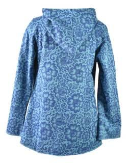 Modrý kabát s kapucňou zapínaný na gombík, vrecká, celopotlač