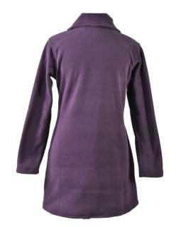 Slivkový fleecový kabát zapínaný na gombíky, farebný kvetinový design, vrecká