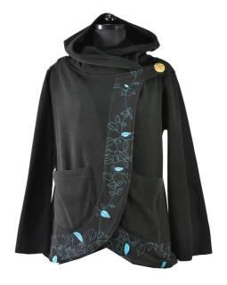 Čierno-tyrkysový fleecový kabát s kapucňou zapínaný na gombík, leaves dizajn a vyššie