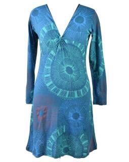 Modré šaty s dlhým rukávom, mandalový potlač, V výstrih