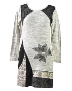 Šedo-čierne šaty s dlhým rukávom, Natural dizajn, výšivka