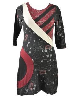 Čierno-vínovej šaty s trojštvrťovým rukávom, Natural dizajn, potlač