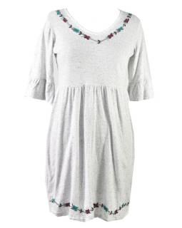 Biele šaty s trojštvrťovým rukávom, výšivka, Natural dizajn