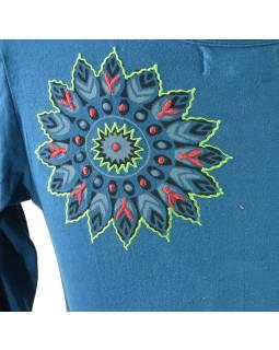 Petrolejové tričko s dlhým rukávom, farebná mandala potlač