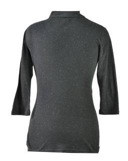 Čierne tričko s trojštvrťovým rukávom, kvetinový potlač, Natural dizajn