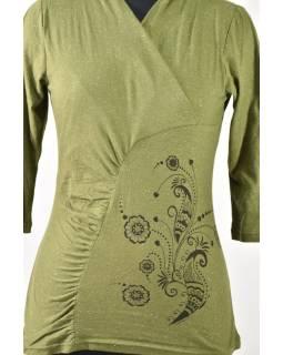 Zelené tričko s trojštvrťovým rukávom, kvetinový potlač, Natural dizajn