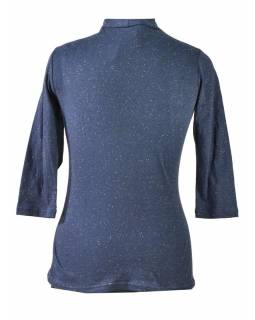 Tmavomodré tričko s trojštvrťovým rukávom, kvetinový potlač, Natural dizajn