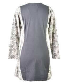 Šedo-biele šaty s dlhým rukávom, Natural dizajn, potlač, Bio bavlna