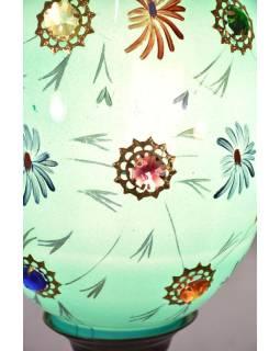 Oválna sklenená lampa zdobená farebnými kameňmi, modrá, ručne maľovaná, 40x25cm