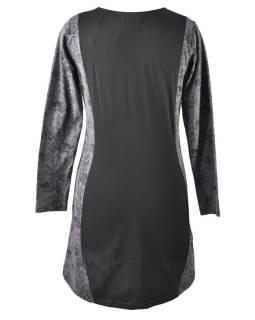 Čierno-šedé šaty s dlhým rukávom, Natural dizajn, potlač, Bio bavlna