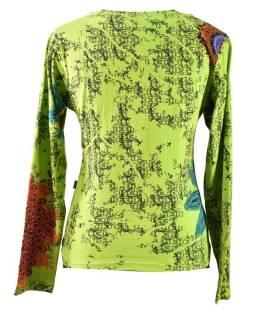 Zelené tričko s dlhým rukávom, Mandala potlač, okrúhly výstrih