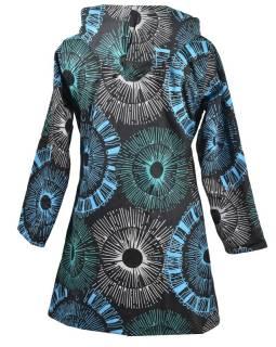 Čierno-modrý dámsky kabát s kapucňou zapínaný na zips, farebný mandala potlač, vrecká