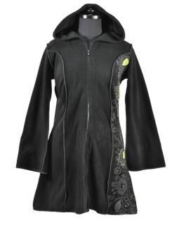 Čierno-zelený fleecový kabátik s dlhou kapucňou, zapínanie na zips