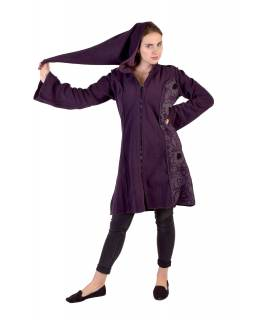 Slivkový fleecový kabátik s dlhou kapucňou, zapínanie na zips