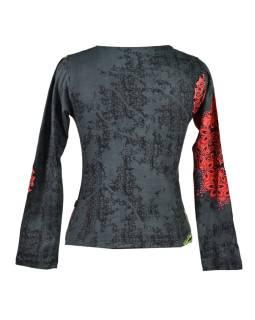 Šedé tričko s dlhým rukávom, Mandala potlač, okrúhly výstrih