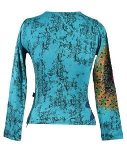 Tyrkysové tričko s dlhým rukávom, Mandala potlač, okrúhly výstrih